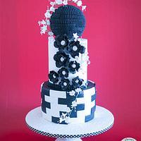 A Bold Ball Wedding Cake