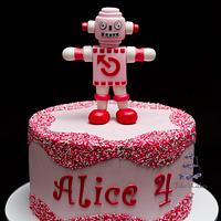 Alice's Sugar robot and sprinkle cake