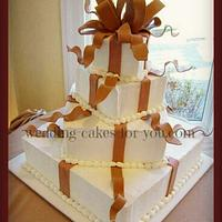 Square Wedding Cake With Fondant Ribbons