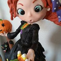 Halloween cake: Wendy the witch on a broom