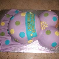 Preggo Belly Cake by caymancake