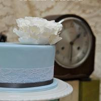 Blue Vintage Peony Wedding Cake