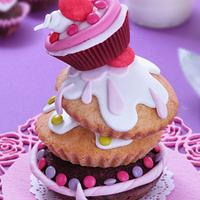 wonky tower of cup cakes