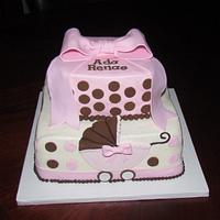 Pink and Brown Baby Shower with Cupcakes