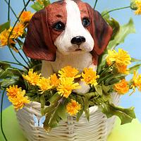 3D cake puppy Beagle in the basket of dandelions