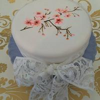 Hand Painted Cherry Blossom cake <3