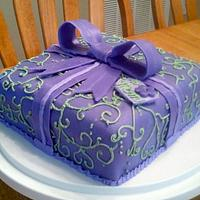 Green and Purple Present Cake