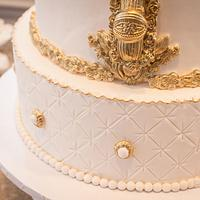 Miss Diva and the mirror  white & gold wedding cake