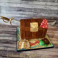 Pirate Treasure Chest Cake by Cakes By Julie