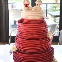 Ombre Red Ruffle Wedding cake