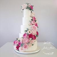 Pink Floral Cascade Wedding Cake