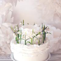 Small Snowdrops Wedding Cake