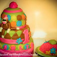 Sock Monkey and Smash Cakes for a First Birthday by Jennifer's Edible Creations