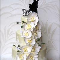Orchid wedding cake