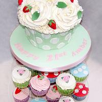 Cath Kidston inspired Giant cupcake tower by Sandra's cakes