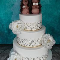 Funny hedgehog wedding cake