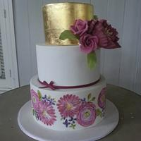 Handpainted and gold leaf cake