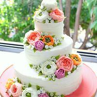 Oriental Buttercream Tiered Cake