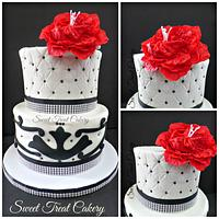 Black and white with a splash of red!