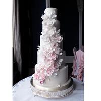 Ombre rose cascade wedding cake