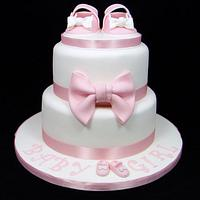Pink Shoes Baby Shower/Christening Cake