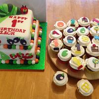 The very hungry Caterpillar Cake & Cupcakes for a 1st birthday