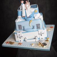 Blue Suitcase Cake