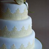 Vintange White And Yellow Wedding Cake With Edible Sweet Lace