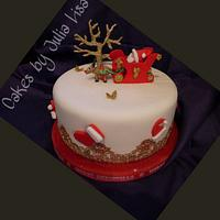Santa & his sleigh Christmas Cake
