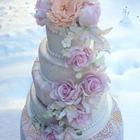 Pastel floral wedding cake
