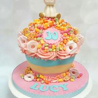 Rainbow unicorn giant cupcake