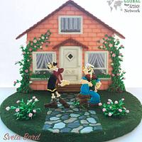 Olive Oyl and Popeye. Whole is Royal Icing.