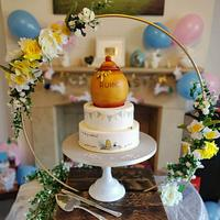 """""""How Do You Spell Love?"""" Winnie The Pooh Gender Reveal Cake"""