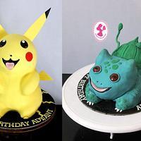 Pikachoo & Bulbasaur Cake