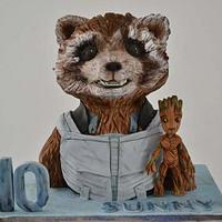 Rocket and baby groot cake