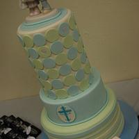 Double-barrel baptism cake