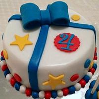 boys fondant covered birthday cake