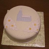christmas cake with a church