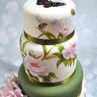 Handpainted Peony Rose by Lesley Marshall cake art