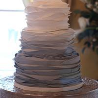 Gray Ombre Ruffle Wedding Cake