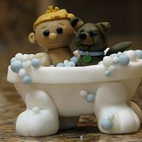 Boy & Puppy Bath Time
