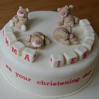 Tumbling bears christening cake