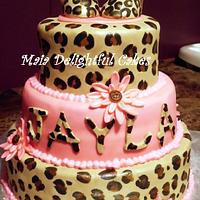 Leopard Print Baby Shower Cake
