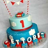 1st birthday cake cars theme