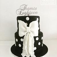 Black polka dot cake
