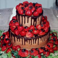 Buttercream Grooms cake with strawberries