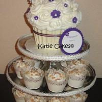 Purple and Ivory Giant Cupcake