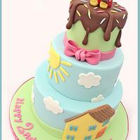 Peppa Pig 3 Tier Birthday Cake
