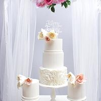Trio of wedding cakes