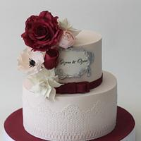 Burgundy Rose Cake